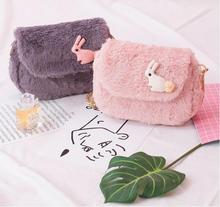 Angelatracy 2019 New Animal Winner Sweet Pink Wool Rabbit Cute Student Japan Style Saddle Women Girls Messenger Crossbody Bag
