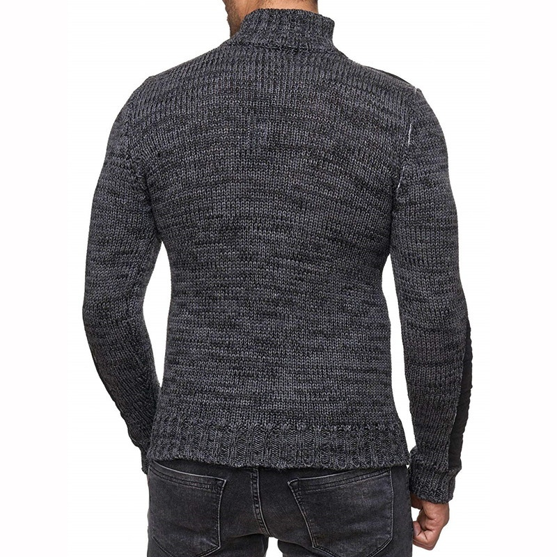 ZOGAA Men's Knit Sweater with Scarf Collar Slim Button Sweater Long Sleeve Hip Hop Streetwear High Quality Casual Man's Sweaters
