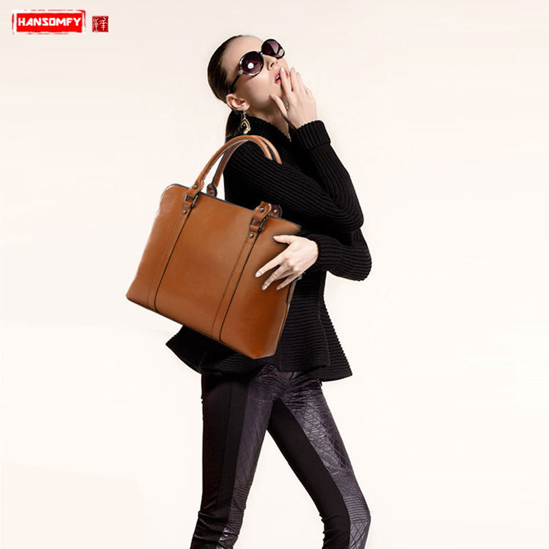 New genuine leather business women s handbags simple female shoulder portable briefcase commuter professional 14 inch