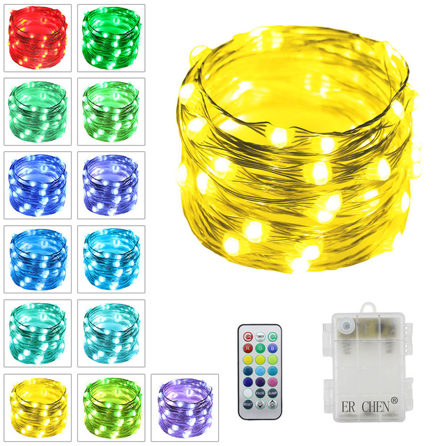 Indoor Outdoor Led String Lights 50leds Battery Ed Multi Color Changing Fairy With Remote For Christmas Party Garden
