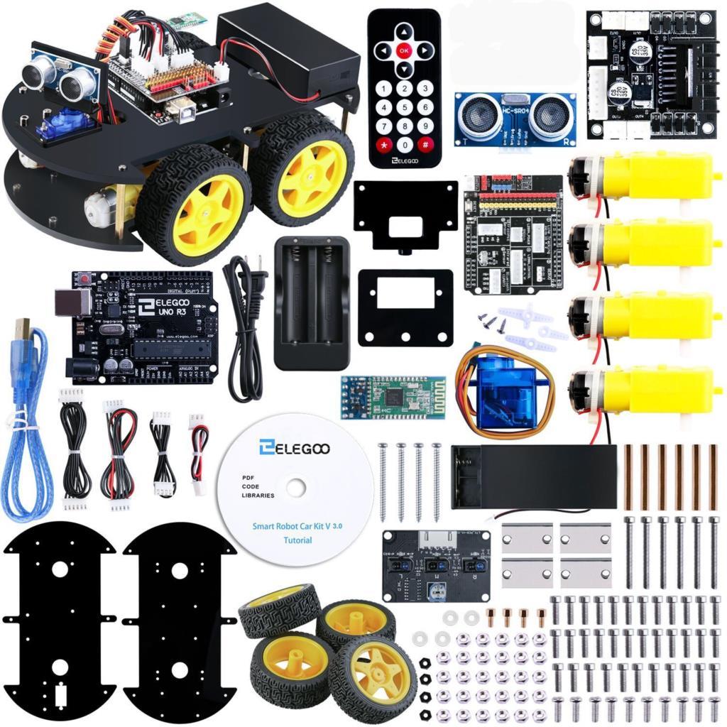 Kit de voiture Robot intelligent UNO Project avec UNO R3, capteur à ultrasons, module Bluetooth, voiture jouet éducative ect pour Arduino (CD inclus)