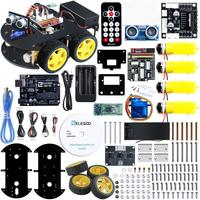 Projeto Inteligente Robot Car Kit com UNO R3 UNO  Ultrasonic Sensor  módulo Bluetooth  ect Carro Brinquedo Educativo para Arduino (Incluir CD)|Circuitos integrados|Componentes Eletrônicos e Peças -