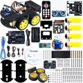 UNO proyecto Robot inteligente Kit de coche con UNO R3 ultrasonidos Sensor módulo Bluetooth coche de juguete educativo ect para Arduino (incluye CD)