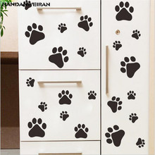 1PCS Cute cartoon dog Cat Walking Paw Print Wall stickers DIY decorative childrens room home Decoration art decal poster