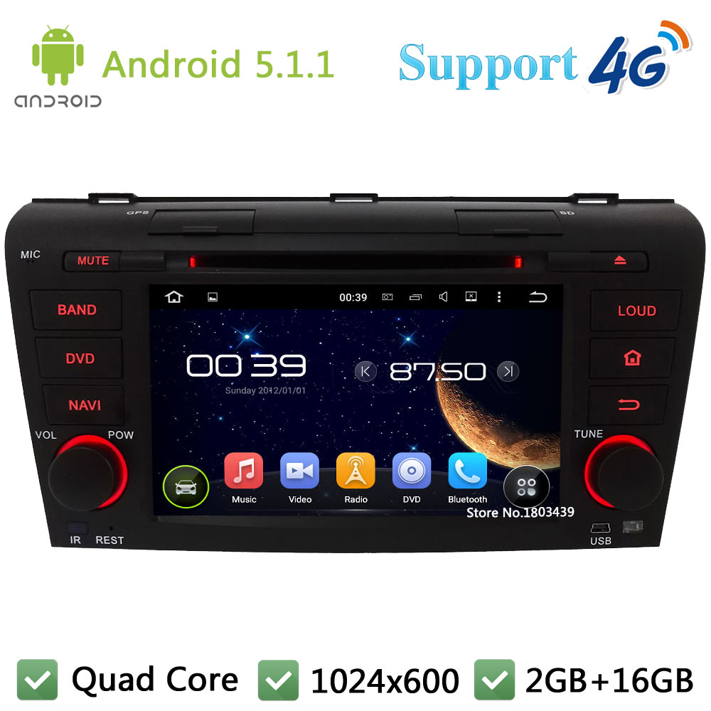 Quad Core 7″ 1024*600 2DIN Android 5.1.1 Car Multimedia DVD Video Player Radio Stereo 3G/4G WIFI GPS Map For MAZDA 3 2004-2009