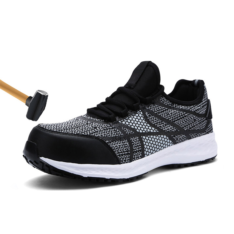 Males Security Footwear Metal Toe Work Footwear Extremely Light-weight Breathable Sneaker Reflective Stripe Fly Material Informal Footwear