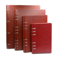 Бизнес офисные A4 B5 A5 A6 A7 искусственная кожа связаны Тетрадь Чехол черный/вино/синий/коричневый спираль Записные книжки внутри на документы