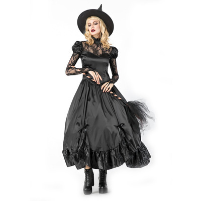 Luxury Vampire Cosplay Halloween Dress Women Black Lolita Style Lace Dresses Party Tuxedo Nightclub Witch Costume + Hat