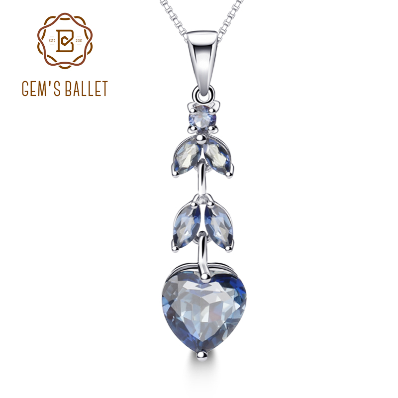 Gem s Ballet 925 Sterling Silver Natural Iolite Blue Mystic Quartz Gemstone Leaf Pendant Fine Jewelry