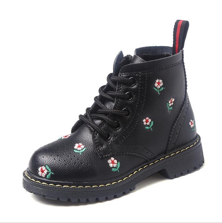 цена на 2018 Autumn Winter Children's Short Boots Kids Martin Boots Girls' Genuine Leather Boots Children's Shoes Antiskid Cotton Shoes