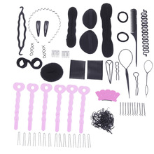 20SetsHair Styling Tools Weave Braid Donuts Sponge Former Twist Tool Disk Hair Pull Hair Pin U-Clips Screw clamps Elastic Rubber