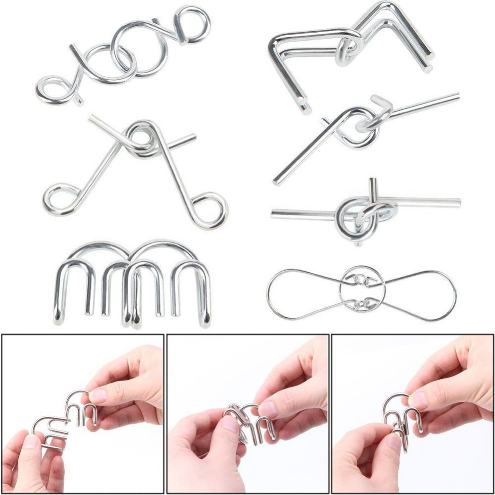 7pcs set Classical Metal Ring Puzzles IQ Brain Teaser Test Toys Locks Educational Learning Gifts for