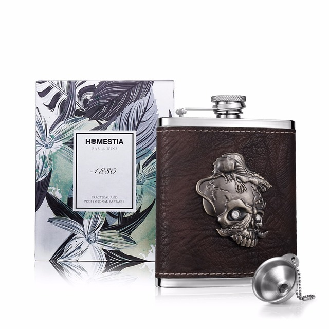 7oz Stainless Steel and PU leather Hip Flask with Hip flask funnel Portable Alcohol Flask Whiskey Liquor Flask Barware Drinkware