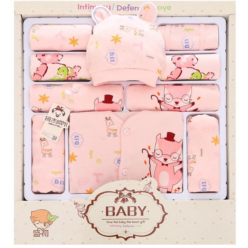 (13pcs/set)Newborn Baby 0-12M Clothing Set cartoon fox long Sleeve new born baby clothes Boy/Girl Baby outfit christmas gift
