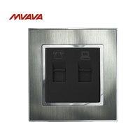 MVAVA RJ45 Computer RJ11 Telephone Wall Socket Jack Plug Silver Satin Metal Outlet Residential General Purpose