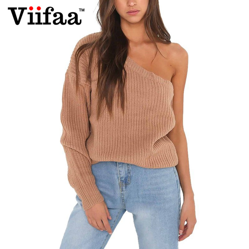 Viifaa One Shoulder Christmas Pullover and Sweater Women 2017 Autumn Winter Sexy Knitted Jumper Pull Femme