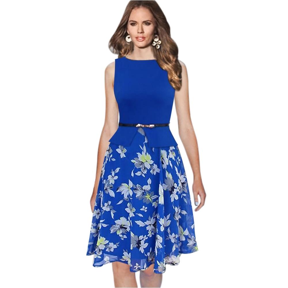 ②Fd3453 женские летние шифоновое платье vestidos без рукавов с ... b18034469571a