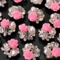 10pcs Nail Art Decorations Tips Pink Rose Flower Alloy Jewelry Glitter Rhinestone nail art stickers 03ST