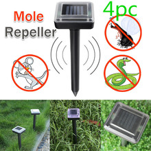 4pcs/set Ultrasonic Solar Power Mouse Repeller  LED Light Outdoor Lamp Garden Yard Mole Rat Rodent With Solar Energy Panel