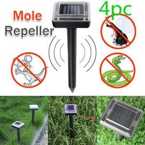 Image 1 - 4pcs/set Ultrasonic Solar Power Mouse Repeller  LED Light Outdoor Lamp Garden Yard Mole Rat Rodent With Solar Energy Panel