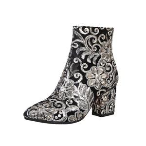 Image 4 - MORAZORA גבוהה באיכות לרקום נשים מגפי עבה גבוהה עקבים סתיו חורף מגפי אופנה נעלי גבירותיי נעלי קרסול מגפיים