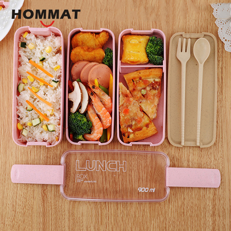 Kids Lunch Box Bento With Compartment Japanese Bento Box Set Microwavable Lunchbox Plastic Food Container with Lunch Bag Camping