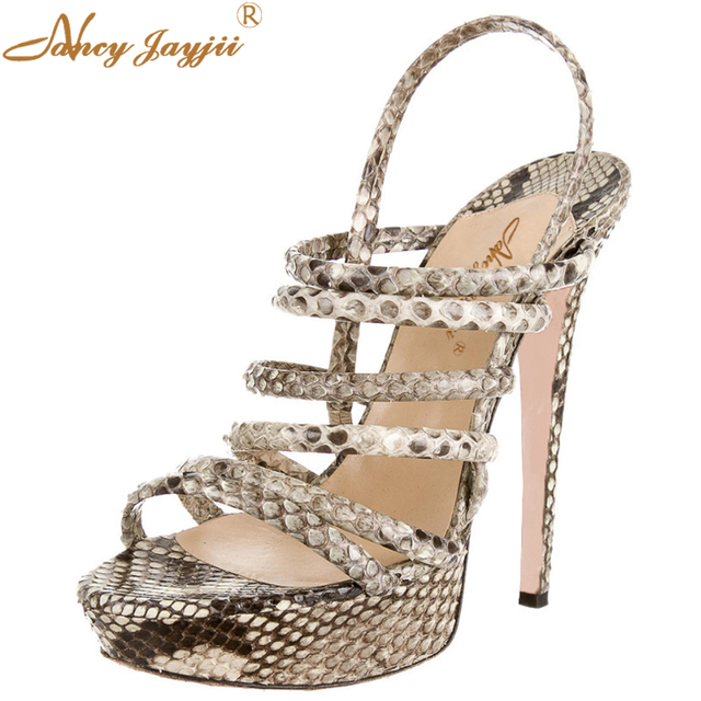 f1fbfc53791f 2018 Summer Grey Slides Slingback Sandals Women Shoe Female Snakeskin Platform  Strap High Heels 14cm Dress Party Casual Size 43