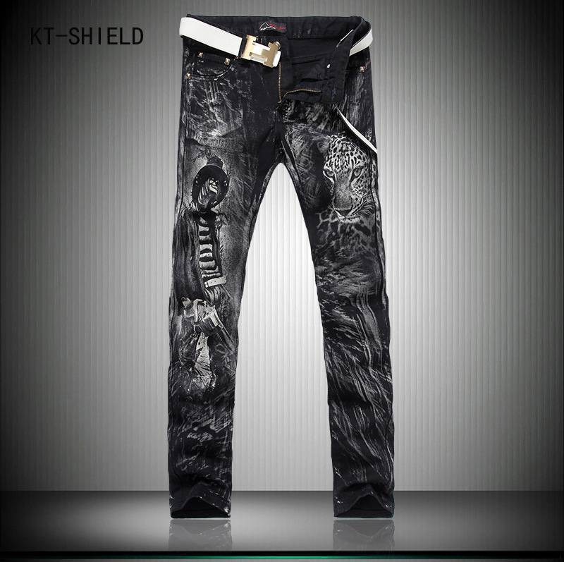 New Designer Brand printing jeans men mens casual Slim Straight ripped jeans tide 3d printed wiht