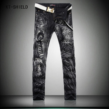 New Designer Brand printing jeans men mens casual Slim Straight ripped jeans tide 3d printed wiht animal long denim overalls men