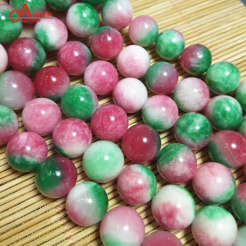 Aladdín 6/8/10/12MM rojo verde blanco Calcedonia piedra Ágata cristal Quart cuentas redondas para DIY joyería hacer pulsera anillo regalo