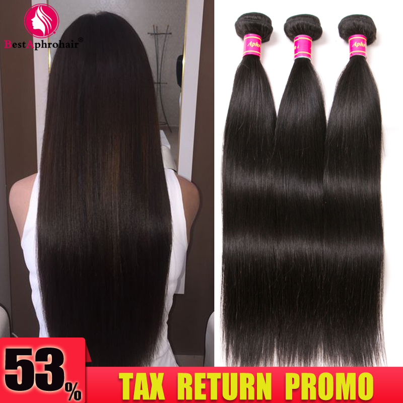 Aphro Бразилски права коса човешка коса - Човешка коса (за черно)