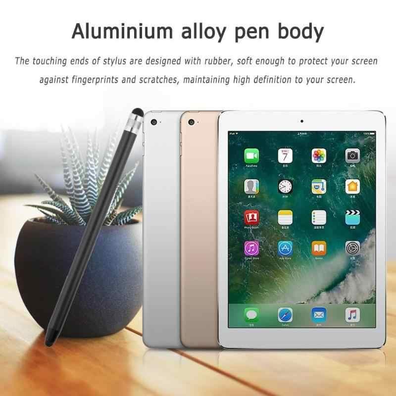10 цветов, круглые Двойные наконечники, емкостный сенсорный экран, ручка с двумя головками, металлический стилус для мобильного телефона, смартфона, планшета, ПК