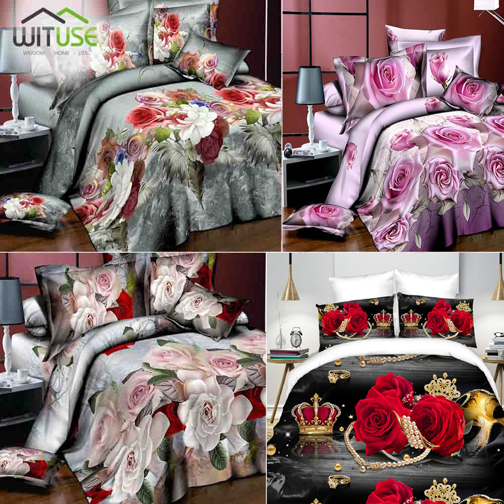 Quilt Cover 3D Flower Series 2/3Piece Set Cotton Red Rose Printed Stereo Personality Home Decor Home Living Bedding Cover Set
