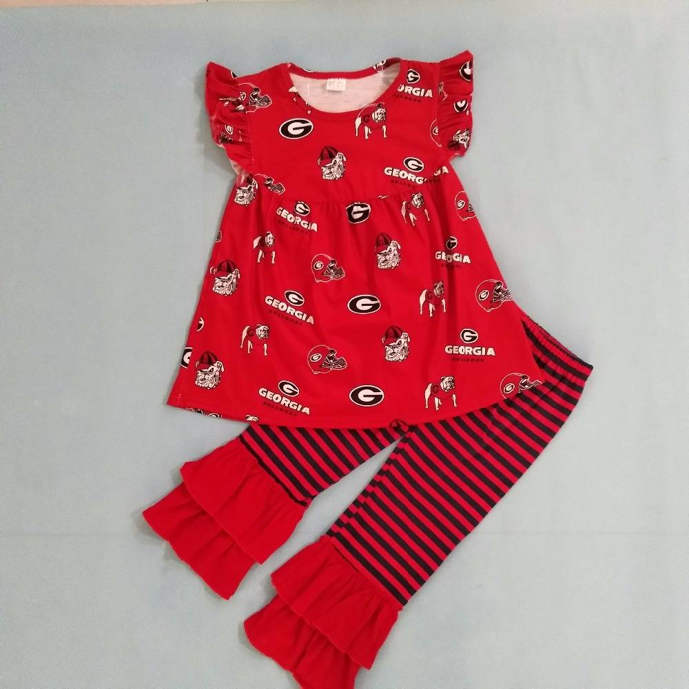 CONICE NINI Unique Cool Design Girls Summer Red Print Dress Ruffle Stripped Pants Toddler Boutique Clothing Set S081