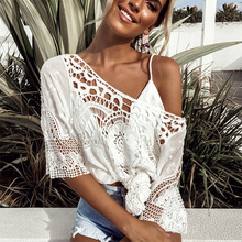 Vintage Boho White Lace Crochet Knitted Blouse Shirt 2019 Summer Hollow Out Beach Bikini Cover Up Casual Tops for Women Clothing