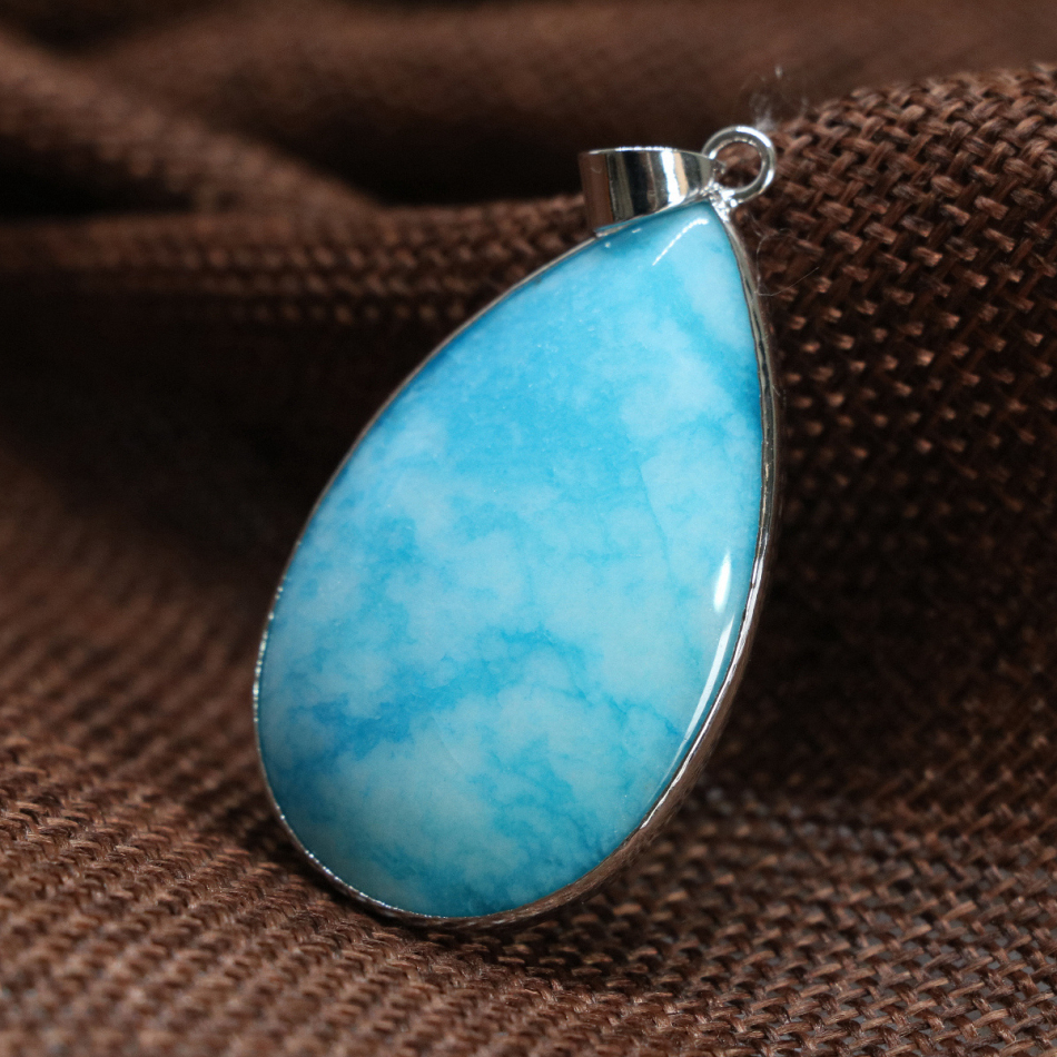 Free shipping fashion large teardrop blue jasper chalcedony pendant 25*30mm fit diy chain necklace for women jewelry B1855
