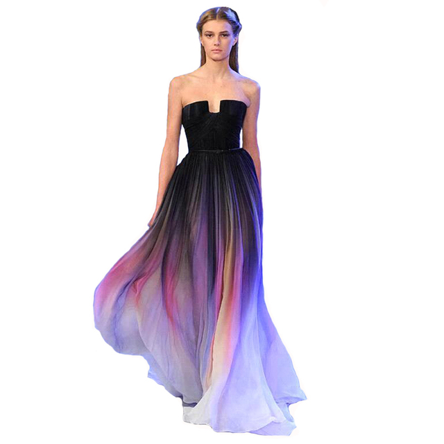 97840e3457 Vestidos 2017 Elie Saab New Gradient Ombre Chiffon Prom Dress Evening Dress  Strapless with Pleats Women Dress Navy Lily Collins