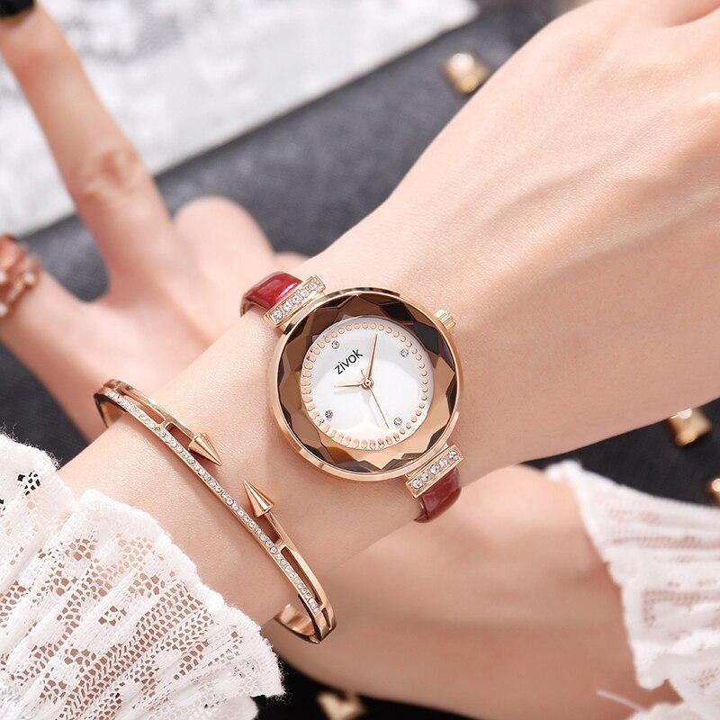 Zivok Mode Bracelet En Cuir Or Rose Femmes Montre Creative Casual Lovers Quartz Montre-Bracelet Femmes Robe Dames De Luxe Montres
