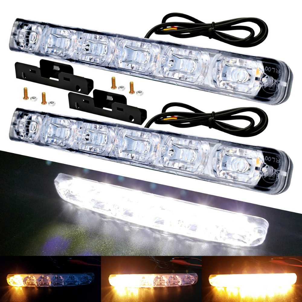2PCS 6 LED Universal Car Daytime Running Light Waterproof DRL Kit Day Light Auto Driving Light External Light Decorative Lamp