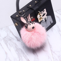 Luxury Leather Bunny Rabbit Real Fluffy Fox Fur Pompon Key Chains Car KeyRing Holder Fur Pompom
