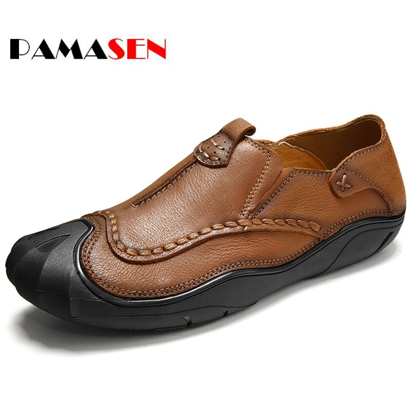 PAMASEN Brands NEW 100%Genuine Leather Men Loafers Spring Summer Fashion Cool Men's Flats Shoes Comfortable Low Man Casual Shoes new men s fashion casual shoes high quality genuine leather comfortable loafers for men flats shoes brand taima 40 45