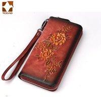 New Ladies Genuine Leather Wallets Embossed flower Wristlet Phone Wallet Women Vintage pattern multi card wallet Casual handbag