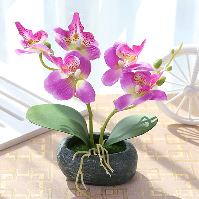 1 Set Double Butterfly Orchid Potted Plant Artificial Flower Bonsai Cement Flowerpot Wedding Party Home Garden Decoration
