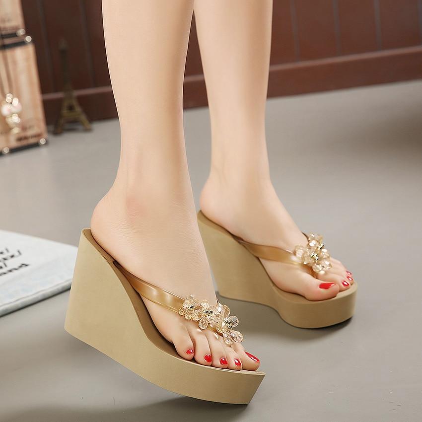 Summer women slippers Plastic Crystal high Thick heels Open Toe platform flip flops hollow out slides shoes woman Wedges Sandal