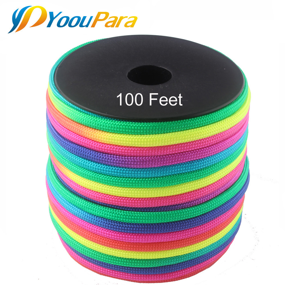 YoouPara Rainbow Paracord 100FT Spools 4mm 7 Strands Rope 550 Parachute Cord Cuerda Escalada Mil Spec Type III Paracorde Outdoor