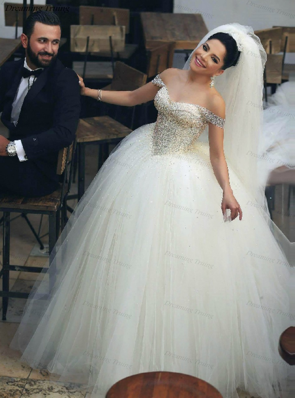 Puffy Wedding Dresses Ball Gown Tulle Off The Shoulder Wedding Dresses Beading Sequined Simple Princess Dubai Bridal Dress