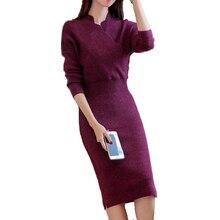 Платья-свитеры для женщин осень 2017 г. талии управлением Дизайн трикотажный пуловер с длинным рукавом v-образным вырезом Мода тянуть роковой fp0109