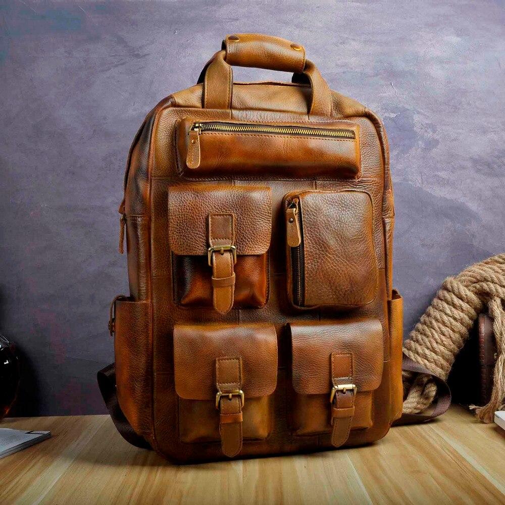 """Design Männlichen Leder Casual Mode Heavy Duty Reise Schule University College 17 """"Laptop Tasche Design Rucksack Daypack 1170 lb-in Rucksäcke aus Gepäck & Taschen bei  Gruppe 1"""