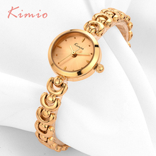 Woman Watches 2016 Brand Luxury Kimio Small Round Dial Unique U Bracelet Strap Fashion Quartz Gold Whatch Women Watch Wristwatch