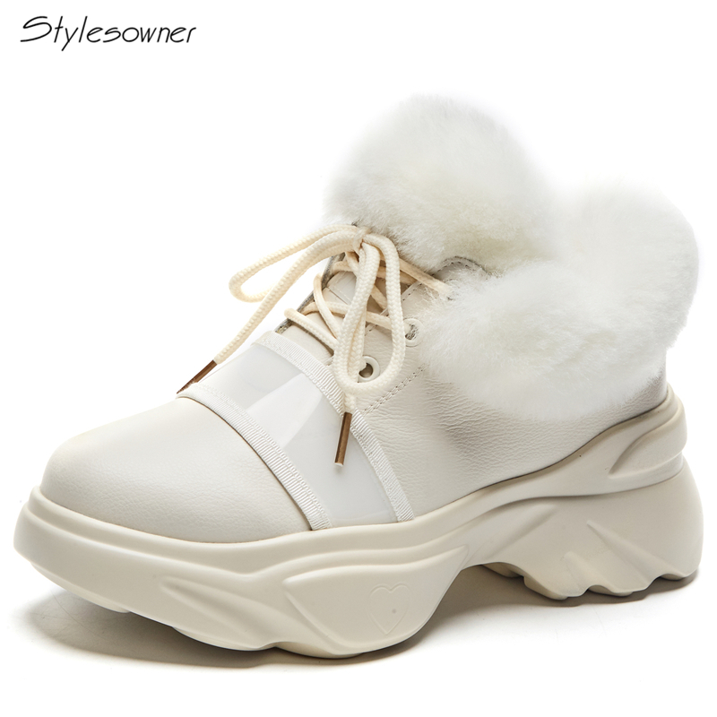 Stylesowner Women Lace Up Fur Ankle Boots High Top Thick Sole Platform Sneakers Fluffy Warm Winter Snow Boots Round Toe ShoesStylesowner Women Lace Up Fur Ankle Boots High Top Thick Sole Platform Sneakers Fluffy Warm Winter Snow Boots Round Toe Shoes